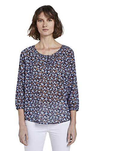 TOM TAILOR Damen Carmenbluse Bluse, 23996-navy floral Design, 40