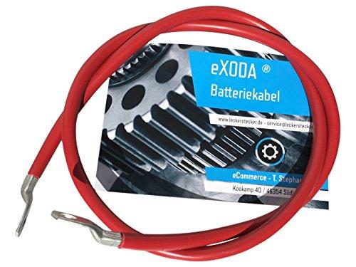 eXODA Batteriekabel 50 mm² 100cm Kupfer Stromkabel mit Ringösen M8 rot 12V KFZ Kabel