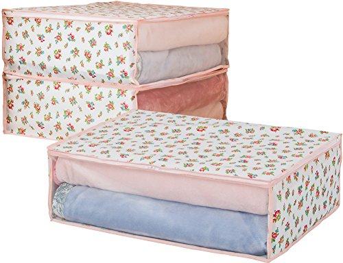 アストロ 寝具 収納袋 3枚 毛布・タオルケット・薄手の掛け布団用 プチローズ柄 不織布 183-22