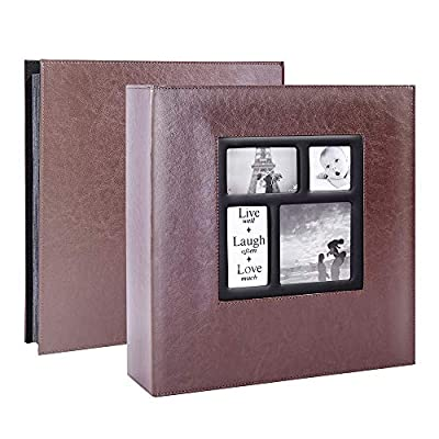 Lanpn Photo Album 4x6 1000 Photos, Extra Large Capacity Leather Cover Picture Photo Albums Holds 1000 Pockets Horizontal and Vertical 4x6 Pictures with Black Pages for Family Wedding Brown