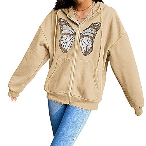 Sudadera de gran tamaño para mujer, diseño de mariposa, con cremallera, con capucha, bolsillo