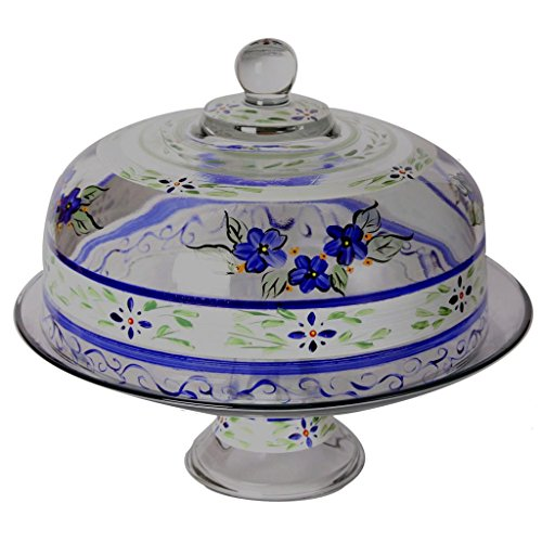 Golden Hill Studio Hand Painted Cake Stand with Cover - Barcelona Blue Collection - Hand Painted Glassware by USA Artists - Unique and Decorative Cake Dome, Kitchen Table Décor