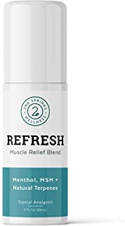 2nd Springs Refresh Muscle Relief Blend Topical Pain Reliever Analgesic with Menthol, Eucalyptus Emu Oil, Ginger, Propriet...