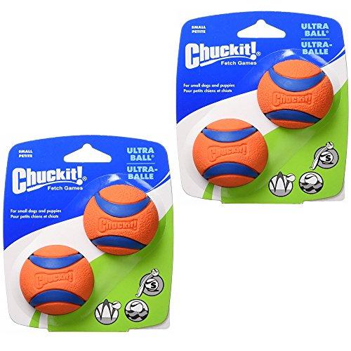 Chuckit! Hundespielzeug zum Apportieren von Hunden, strapazierfähig, Gummi, passend für kleine 4 Bälle
