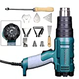 Heat Gun Variable Temperature, Hot Air Gun 122°F - 1020°F with 5 Nozzle Attachments for Stripping Paint, Shrinking PVC/Wrap, Cell Phone Repairs (1500W (Temp Adjustable))