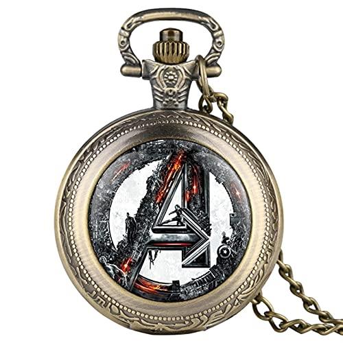 XFY Reloj de Bolsillo de Cuarzo, Reloj de Bolsillo de Cuarzo Retro Collar Retro Colgante Cadena Fob Reloj Hombres Horas Unisex Regalos para fanáticos (Color : A)