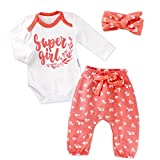 Baby Sweets 3er Baby-Erstausstattung-Set Good Girl für Mädchen mit Langarm-Body, Hose und Haarband in Weiß-Rot als Baby-Bekleidungsset für Neugeborene und Kleinkinder/Größe 56 (Newborn)