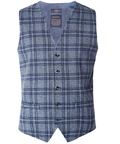 Circolo 1901 Men's Stretch Cotton Tweed Check Waistcoat Blue US 46