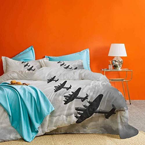 Airplane Bed Set Retro Image of Lancaster Bomber Jets from Battle Royal Air Force in Clouds Plane Best Hotel Luxury Bedding Black White 3 Piece (1 Duvet Cover and 2 Pillow Shams) California King