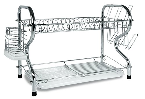 Better Chef DR-164, 16-Inch, Chrome Plated, R-Shaped, Rust-Resistant, 2-Tier Dishrack