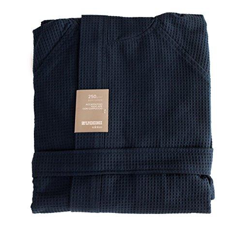 Albornoz con capucha de Zucchi Solotuo para hombre y mujer, talla M, L - XL de nido D 'abeja 100% puro algodón 250 g/m² (2395, M - 46/48)