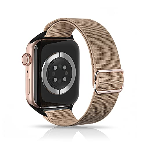 ARCEED Adjustable Stretchy Bands Compatible with Apple Watch Band 38mm 40mm 42mm 44mm,Women Men Elastic Sport Solo Loop Nylon Wristbands for iWatch Series SE/6/5/4/3/2/1(Khaki,42/44mm)