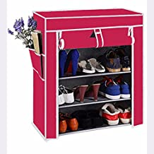Biaba Collection Durable & Fancy Polyester Collapsible Shoe Stand (Beige, 4 Shelves)Pink(Color As Per Availability)