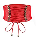 Las mujeres Strecth corsé que adelgaza la correa ancha de cuero de PU Cinturones de hebilla ancha pretina elástico para el vestido (rojo)