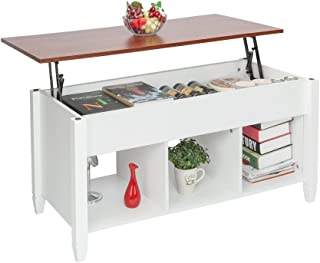 Coffee Table Lift Top Wood Home Living Room Modern Lift Top Storage Coffee Table w/Hidden Compartment Lift Tabletop Furniture (Brown White)