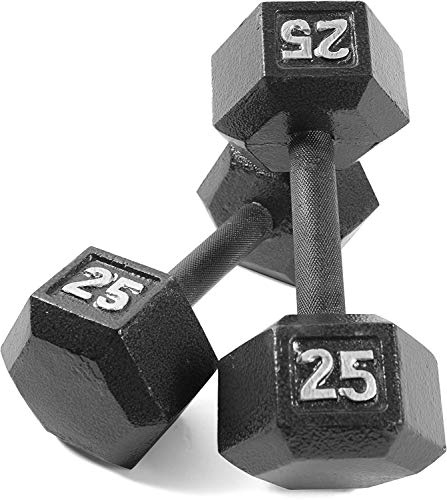 Grey Solid Hex Dumbbell [Set of 2] Weight: 25 lbs