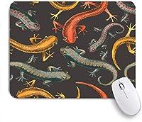 ECOMAOMI 可愛いマウスパッド トカゲ爬虫類シームレスパターンイラスト 滑り止めゴムバッキングマウスパッドノートブックコンピュータマウスマット