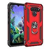 BestST Funda LG K50/LG Q60 con Anillo Soporte,+ HD Protectores de Pantalla,2in1 Dura PC + Suave TPU Silicona Carcasa Híbrido Armadura Bumper Case Cover para LG K50/LG Q60 -Rojo