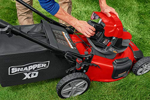 inserting lawn mower battery