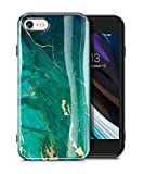 GVIEWIN Marble iPhone SE 2020 Case/iPhone 8 Case/iPhone 7 Case, Ultra Slim Thin Glossy Soft TPU Rubber Gel Phone Case Cover Compatible iPhone SE2/iPhone 7/8 4.7 Inch (Green/Gold)