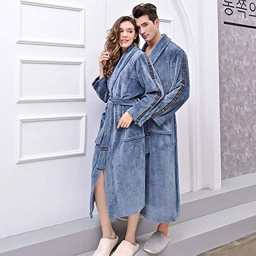 ZXYSMM Paar-Ankleidekleid, Flanell-Pyjamas, Nähen Dicke Roben, Der Gürtel Kann Eingestellt Werden, 2 Vordere Taschen, Grau Komfortabel,Ms-M,Ms-M.