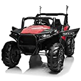 Aneken 12V Electric Ride on Cars, 2-Seater Kids Ride-On Car Off-Road UTV Truck Toy with Parental Remote Control, Suitable for Various Terrain, 3 Speeds, Spring Suspension, Music, LED Light (Red)