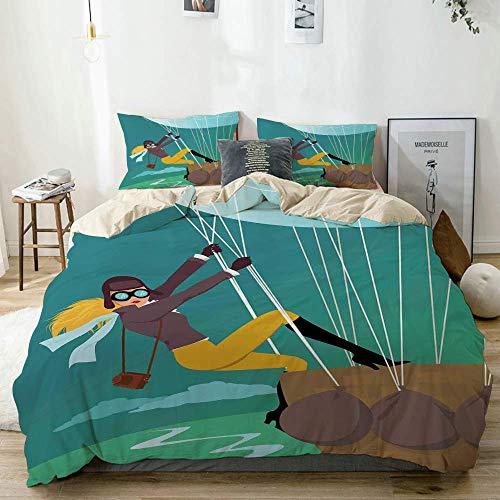 Juego de funda nórdica beige, estilo de dibujos animados vintage explorador espía mujer figura aventurera en un globo aerostático, juego de cama decorativo de 3 piezas con 2 fundas de almohada de fáci