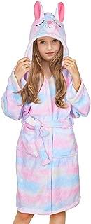 Beinou Unicorn Kids Robe Fleece Bathrobe Flannel Sleepwear Hooded Girls Robe