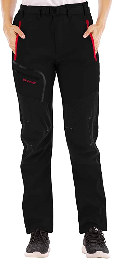 Warm Windproof SANMIO Womens Pants Outdoor Womens Hiking Pants Lined Winter Pants Elastic Thickened Ski Pants Mountain Pants Trekking Outdoor with Belt Breathable