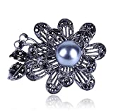 N\A Black Rhinestone Plant Flowers Brooches Women with Imitation Pearl Weddings Casual Office Brooch Pins Gifts