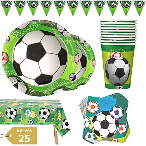 Vajilla para Fiesta de Fútbol 102 Piezas Tema Deportivo para Cumpleaños de Niños Incluye Platos Vasos Servilletas Mantel y Pancarta, 25 Invitados