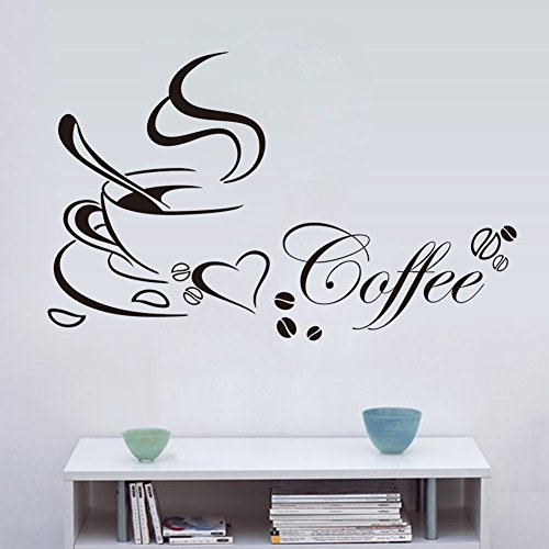 Zooarts Coffee Cup Wall Stickers decalcomanie vinyl Art Decor Room Home Cafe murale DIY