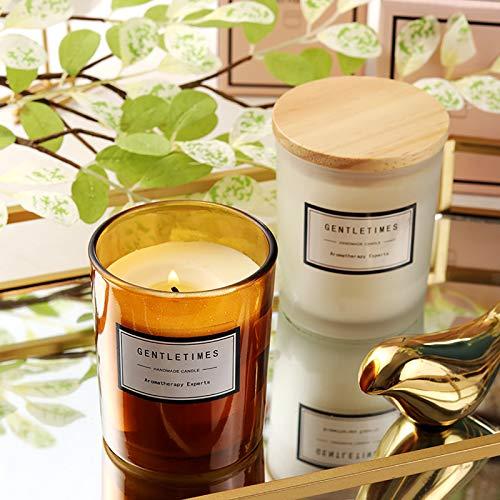 Carolilly Velas perfumadas en tarro con tapa de madera de cera de...