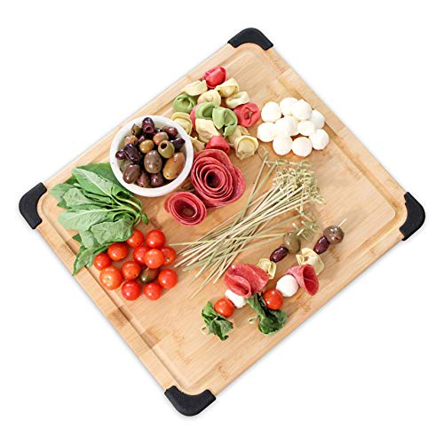 Extra Large Premium Organic Bamboo Kitchen Cutting Board & Chopping Board with Juice Groove, Non-Slip Bamboo Cutting Board & Serving Platter for Meats (Butcher Block), Cheeses, Vegetables - Heavy Duty