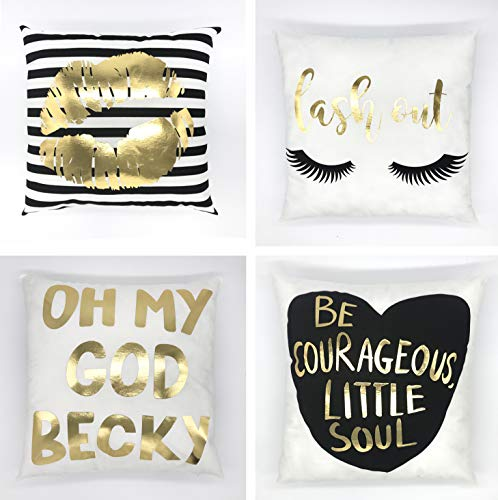 JesyLuco Bronzing Flannel Pillow Cover Set of 4 Printed Pillowcase Gold Letter Lips Pattern Design with Zipper Home Decor for Sofa Slipcover Decorative 18x18 Inch