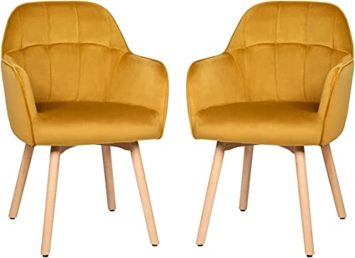 wholesale Giantex Modern Velvet outlet online sale Arm Dining Chairs Set of 2, Cute Chairs w/Solid Wood, Non-Slip Foot outlet online sale Pads, Comfortable Accent Leisure Chair for Living Room, Dining Room, Bedroom (2, Yellow) sale