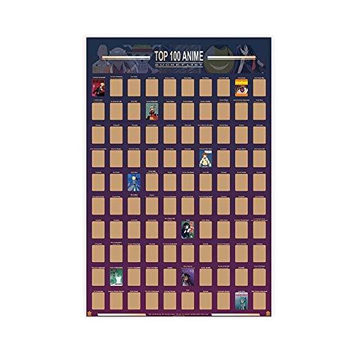 Guildable Top 100 Anime-Poster zum Rubbeln auf Leinwand, Wandkunst, Dekordruck, Gemälde für Wohnzimmer, Schlafzimmer, Dekoration, 40 x 60 cm, ohne Rahmen