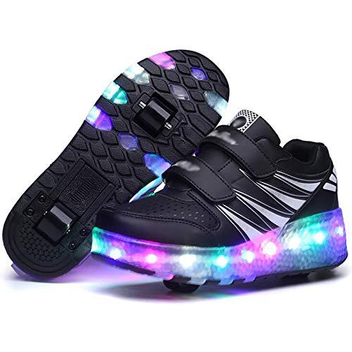 WANGT Zapatos de Roller,Led Luces Luz Moda Patines en Línea Ruedas Dobles Running Zapatillas para Deportes de Exterior Gimnasia Niños Niña,Negro,41