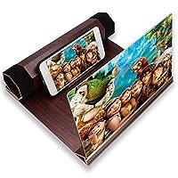 12インチ3D電話スクリーン拡大鏡、抗放射線スマートフォンスクリーン引き伸ばし器、映画ビデオ視聴用の7つ折り磁気木製ホルダースタンド付き