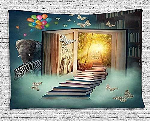 QIAO Tapiz para Colgar en la Pared Mandala Libro m¨¢gico Casa de Fantas¨ªa Globo de Elefante Arriba Poli¨¦ster Estera de Yoga Funda de Mesa Funda de sof¨¢