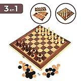 covertlove Set de Ajedrez, Damas y Backgammon. Tablero de Madera Plegable, 34*34cm. Juego de Mesa portátil y Ligero, Ideal para Viajar. Entretenimiento para niños y Adultos