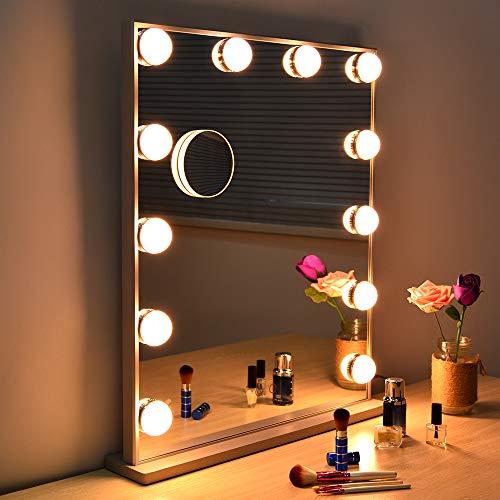 WONSTART Hollywood Espejo iluminado con luces, espejo de tocador para maquillaje con 12 bombillas LED para montar en mesa o en la pared