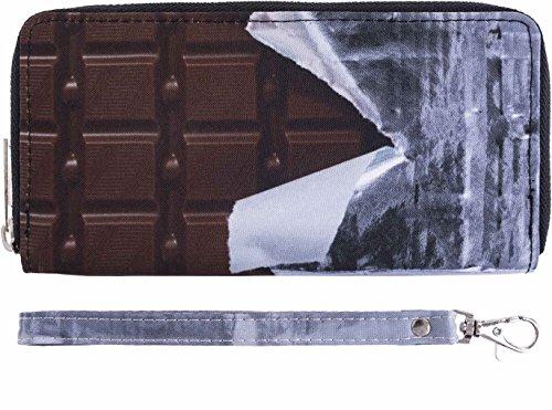 Fullprint Geldbörse Schokoladen Tafel Optik Mit Kleiner Hand Schlaufe Und Reißverschluss Clutch Portemonnaie Handtasche All Over Voll Bedruckt Damen Fashion Festival Trend