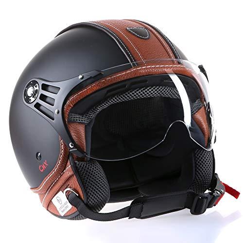 Motorradhelm Jethelm Rollerhelm CMX Hazel Größe M matt schwarz mit braunem Leder und klarem Visier
