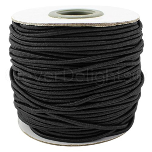 CleverDelights Black Fabric Elastic Cord - 125 Feet - 2mm (1/16') - Crafts Beading Jewelry Stretch Shock Cording