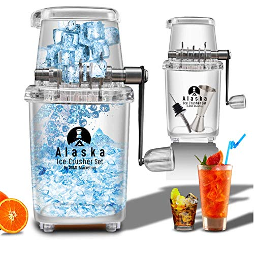 ALASKA Easy-Grip Manual Ice Crusher Set for Home Kitchen/Bar, Includes...