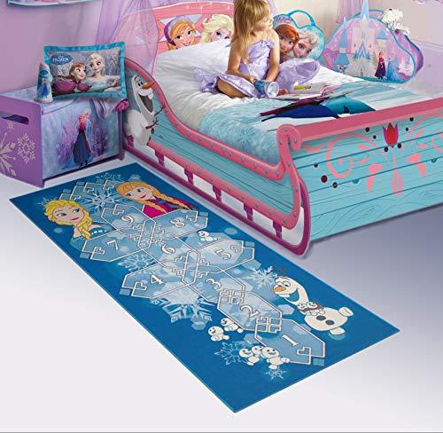 Carpet Studio Disney Weiche Haptik abgepasster Teppich Kinderzimmer für Junge und Mädchen, 95x200cm Rutschfester Rücken, praktische Reinigung, Spielfreundlich, Frozen 77 Hopscotch