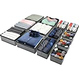 (13 Set) Puricon Foldable Cloth Storage Box Closet Dresser Drawer Organizer Fabric Baskets Bins Containers Divider for Storing Bras, Baby Clothing, T Shirt, Socks, Scarves, Ties -Grey