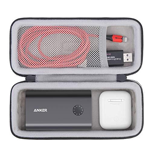 Bolsa Hard Travel BOVKE para Anker Powercore II 10000, 10000mAh Carregador de telefone portátil Power Bank baterias, AirPods de ajuste extra para sala, cabo micro USB, cartões SD e outros acessórios, preto