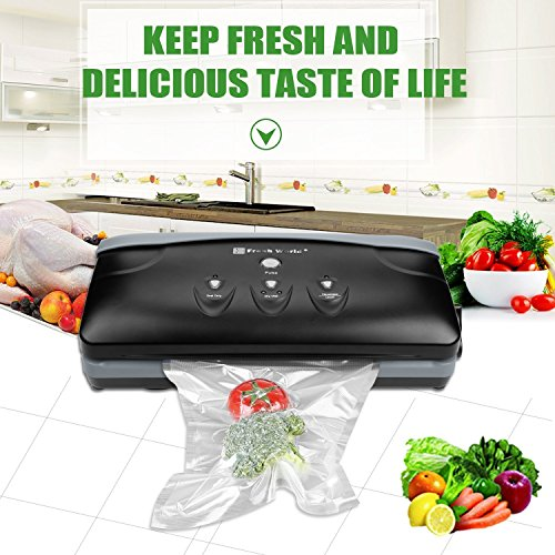 Fresh World 2150A Food Vacuum Sealer Machine With Starter Kit for Heavy Duty use Black & Grey